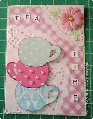 """Выставляю свою серию АТС по игре """" Чайная церемония"""" http://stranamasterov.ru/node/1041068 Такие чашки у меня получились, ведь какой чай без красивых чашечек?))) Вообще серия получилась очень нежная, в таких розово- пастельных тонах. Использовала скрапбумагу, акварельную бумагу, дизайнерский картон, салфеточки кружевные, цветочки, листики дырокольности, полубусинки, глитер. Чашки посажены на вспененный скотч. Надеюсь девочкам понравиться)) фото 2"""