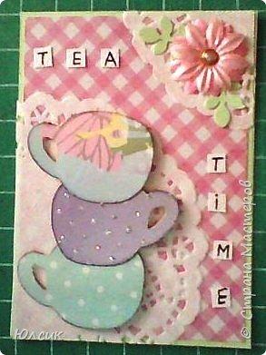 """Выставляю свою серию АТС по игре """" Чайная церемония"""" http://stranamasterov.ru/node/1041068 Такие чашки у меня получились, ведь какой чай без красивых чашечек?))) Вообще серия получилась очень нежная, в таких розово- пастельных тонах. Использовала скрапбумагу, акварельную бумагу, дизайнерский картон, салфеточки кружевные, цветочки, листики дырокольности, полубусинки, глитер. Чашки посажены на вспененный скотч. Надеюсь девочкам понравиться)) фото 4"""