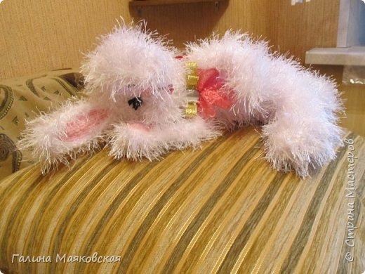 """Привет всем! Сегодня на счастье и на удачу- заяц с деньгами! Размер зайчика ок. 40 см, пряжа - """" травка"""" и  розовый акрил, проволочный каркас. фото 4"""