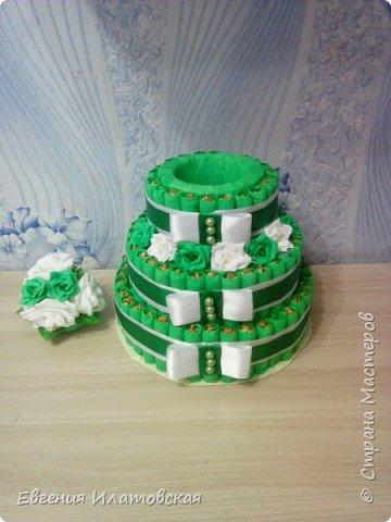 Здравстауйте все!!! Вот такой торт из конфет у меня получился) Делала на юбилей для сестры мужа! (Торт делала впервые) фото 2