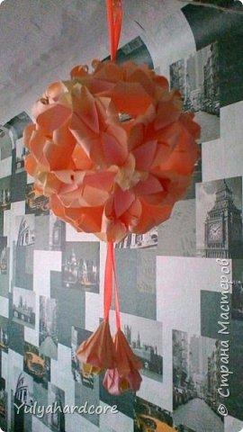 Вот такая получилась у меня кусудама от Натальи Романенко. Вот ссылка на данную кусудаму: http://kusudama.info/2011/11/kusudama-sweet-spring/. Размеры все соблюдались. фото 2