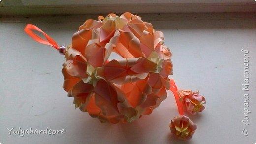 Вот такая получилась у меня кусудама от Натальи Романенко. Вот ссылка на данную кусудаму: http://kusudama.info/2011/11/kusudama-sweet-spring/. Размеры все соблюдались. фото 1