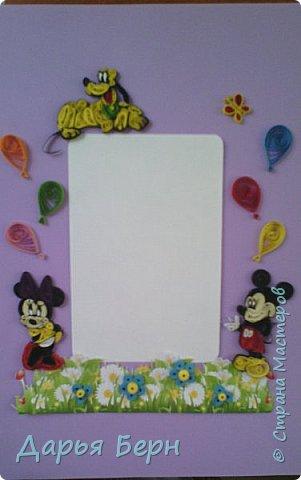 Фоторамка подарок племяннице на день рождения. Она очень любит мультики про Микки Мауса, поэтому решила сделать рамку с этими персонажами. Делала рамку 2 года назад, нашла фото, решила поделиться. Надеюсь кому то пригодиться =) фото 4