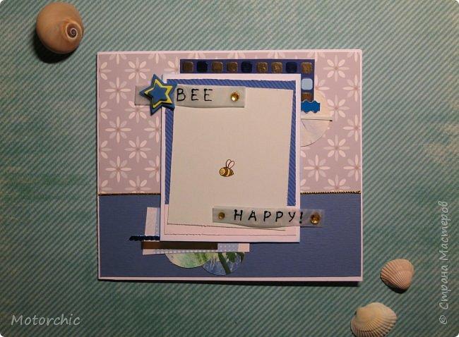 Давно я не делала открыточек, исправляюсь =) Сегодня у меня открытка в голубых тонах. фото 1