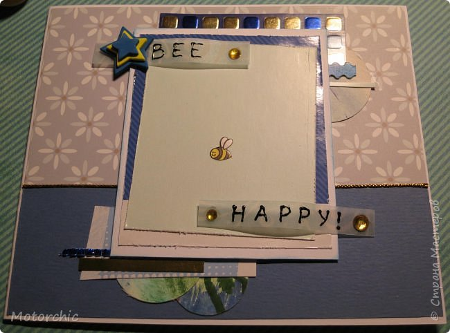 Давно я не делала открыточек, исправляюсь =) Сегодня у меня открытка в голубых тонах. фото 3