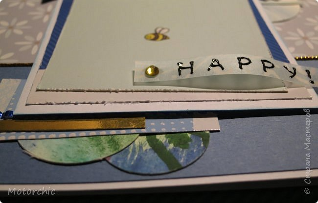 Давно я не делала открыточек, исправляюсь =) Сегодня у меня открытка в голубых тонах. фото 4