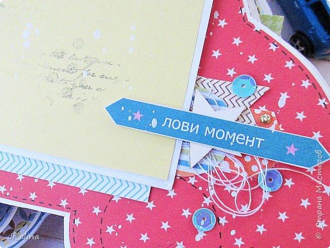 """Добрый вечер! Хочу показать вам альбом в форме машинки по шаблону блога Мухи творчества http://myhi-creativiti.blogspot.ru/2016/03/3.html. Хотелось, чтобы все было такое яркое, солнечное и радостное. Для этого выбрала бумагу фирмы ScrapМир """"Такие мальчишки""""   фото 4"""