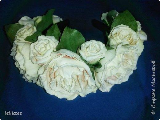 Ободок с розами. Цвет айвори с нежными розовыми полутонами внутри розы. На фото не очень цвета передаются((, но на последнем можно разглядеть))) Надеюсь вам понравятся мои работы)) Спасибо)) фото 1