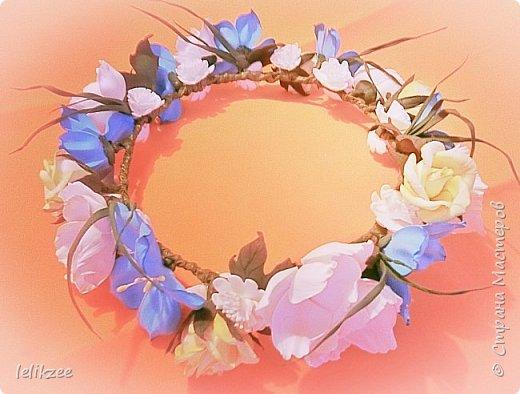 Ободок с розами. Цвет айвори с нежными розовыми полутонами внутри розы. На фото не очень цвета передаются((, но на последнем можно разглядеть))) Надеюсь вам понравятся мои работы)) Спасибо)) фото 5