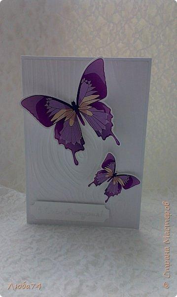 """Всем привет! У нас на улице жара, поэтому у меня сегодня серия летних открыток с """"бабочками"""" на все случаи жизни. Размер открыток 14,8 х 10,5 см. Основа готовые заготовки для открыток, подложки с тиснением, распечатанные бабочки на фотобумаге, шильдики с надписями. фото 12"""