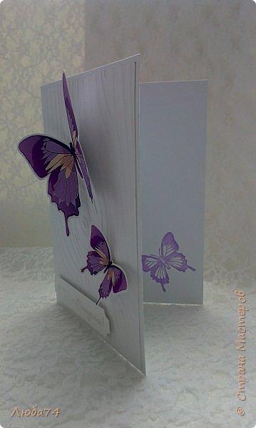 """Всем привет! У нас на улице жара, поэтому у меня сегодня серия летних открыток с """"бабочками"""" на все случаи жизни. Размер открыток 14,8 х 10,5 см. Основа готовые заготовки для открыток, подложки с тиснением, распечатанные бабочки на фотобумаге, шильдики с надписями. фото 15"""