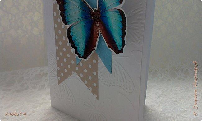 """Всем привет! У нас на улице жара, поэтому у меня сегодня серия летних открыток с """"бабочками"""" на все случаи жизни. Размер открыток 14,8 х 10,5 см. Основа готовые заготовки для открыток, подложки с тиснением, распечатанные бабочки на фотобумаге, шильдики с надписями. фото 20"""