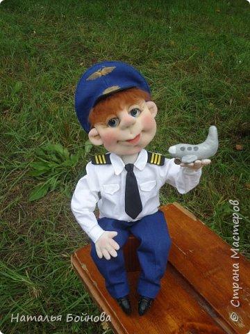 Текстильная кукла- летчик гражданской авиации фото 7