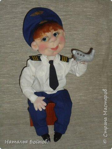 Текстильная кукла- летчик гражданской авиации фото 6