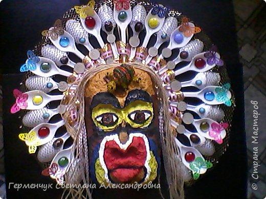 """Это-  маска индейцев.Название"""" индейцы """"возникло ошибочно,так как  европейские мореплаватели считали, что открыли Индию. фото 1"""