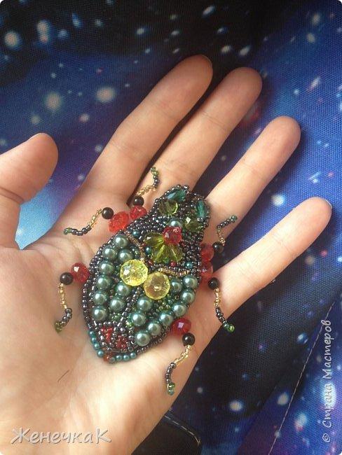 Фантазийный жук-брошь для гламурной красавицы.))))) фото 6