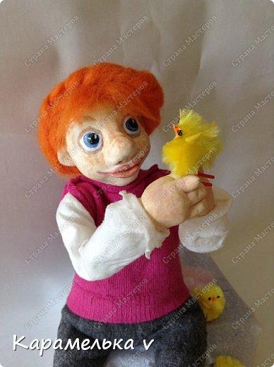 Всем привет!)вот такая куколка у меня вылепилась)Смешная,но мне нравиться)Много недочетов и ошибок,но есть куда стремиться и чему учиться;) фото 1