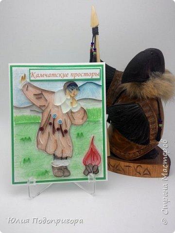 Осенью на Камчатке проводится праздник - Алхалалалай. Это ительменский обрядовый праздник, посвященный окончанию хозяйственного цикла. И мне посчастливилось выполнить один заказик к этому празднику. Получилось 12 открыток с Камчатской тематикой: кутхи, вулканы, идолы, рыба, аборигены... Внутри каждой открытки стихи о Камчатке местных авторов. фото 5