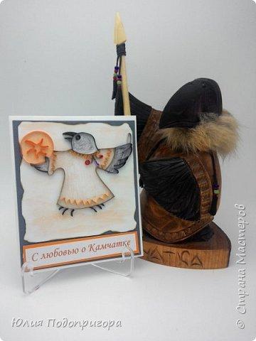 Осенью на Камчатке проводится праздник - Алхалалалай. Это ительменский обрядовый праздник, посвященный окончанию хозяйственного цикла. И мне посчастливилось выполнить один заказик к этому празднику. Получилось 12 открыток с Камчатской тематикой: кутхи, вулканы, идолы, рыба, аборигены... Внутри каждой открытки стихи о Камчатке местных авторов. фото 9