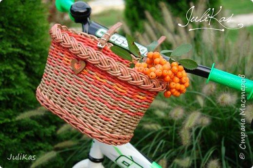 """Доброй ночи, коллеги!  Решилась я на эксперимент - велокорзинки детские... давно меня восхищали плетеные велокорзины, решила начать с детских, к тому же их можно сделать яркими, дети это любят, а я как люблю баловаться цветом.... вот и оттянулась )))) """"Корзинка лесной феи"""" размер 26х17 см, h 15 см фото 1"""