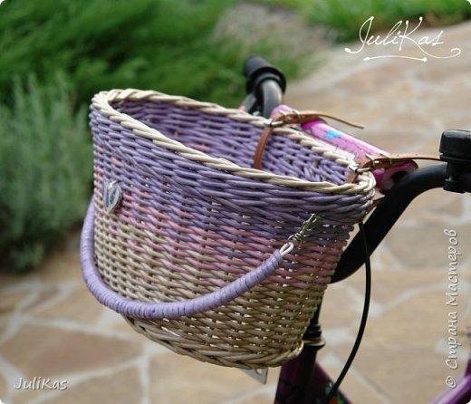 """Доброй ночи, коллеги!  Решилась я на эксперимент - велокорзинки детские... давно меня восхищали плетеные велокорзины, решила начать с детских, к тому же их можно сделать яркими, дети это любят, а я как люблю баловаться цветом.... вот и оттянулась )))) """"Корзинка лесной феи"""" размер 26х17 см, h 15 см фото 13"""
