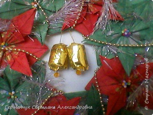 """Это  - венок оригами """" Рождественская звезда- пуансеттия """" фото 2"""