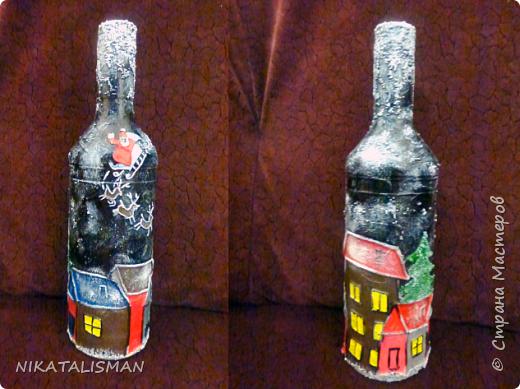 Декор бутылки в технике пейп-арт фото 2