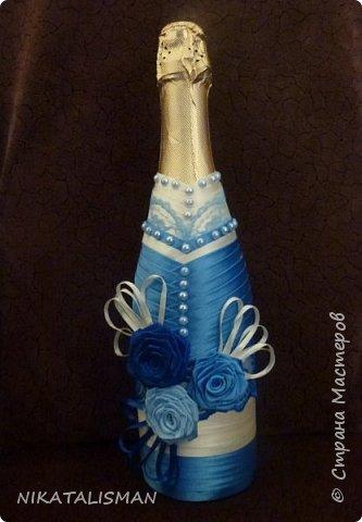 Декор бутылки в технике пейп-арт фото 4