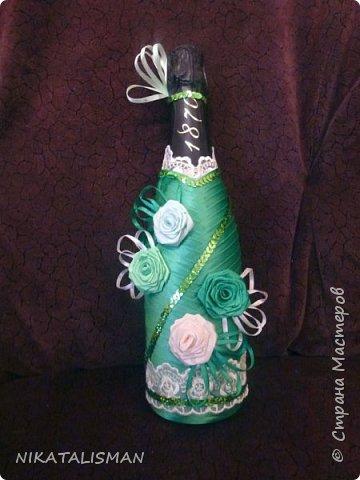 Декор бутылки в технике пейп-арт фото 6