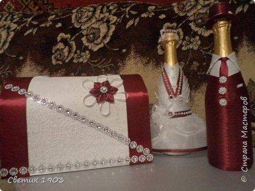 """Очередной наборчик подготовлен  на свадьбу. В этот раз в цвете """"бордо"""".  Свадебная парочка и сундук-казна.  фото 1"""