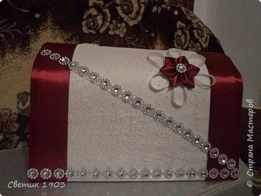"""Очередной наборчик подготовлен  на свадьбу. В этот раз в цвете """"бордо"""".  Свадебная парочка и сундук-казна.  фото 8"""