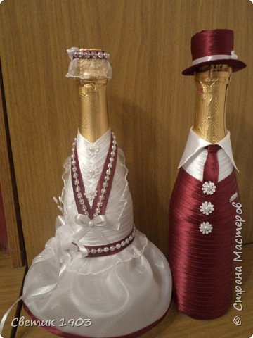 """Очередной наборчик подготовлен  на свадьбу. В этот раз в цвете """"бордо"""".  Свадебная парочка и сундук-казна.  фото 10"""