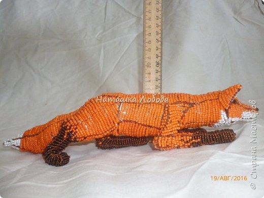 Крадущийся лис из бисера на каркасе фото 7