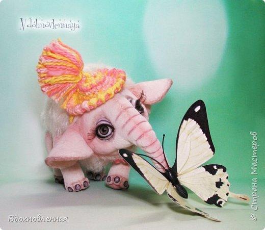 Я очень люблю слоников! Вдохновляюсь я фотографиями слонят в живой природе, сохраняю фото в папочку, а когда проссматриваю - улыбка сама расплывается по лицу и хочется потянуться рукой и дотронуться, и никому не дать в обиду.. Вот в таких эмоциях, и родился у меня слоненок Прошенька. Нежный, почти ванильный, беленький, с розовыми щечками)) Ну прям такой, о котором и мечатала! Проша так мило играл с залетевшими к нам бабочками! Ему было так интересно! Настоящий ребенок, который хочет познавать этот яркий и многоликий мир! И как хочется, что бы на его пути, как и на пути каждого ребенка, было добро и любовь...  У Прошеньки подвижная голова и ножки. Тельце сшито из мохера, а части тела с коротким ворсом - из миништофа. Ноготки на ножках и веки сделаны из натуральной кожи. Хвостик на проволочном каркасе. Люблю этого солнечного ребенка! фото 11