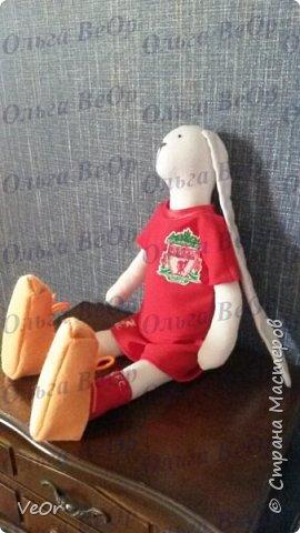 Зай - футболист команды Ливерпуль! Сделан по выкройке тильдозайца. Обувь делала в первый раз, теперь вижу недочеты - буду совершенствоваться) фото 3