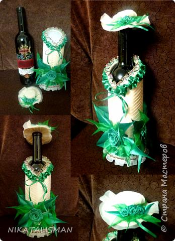 Декор бутылки в технике пейп-арт фото 10