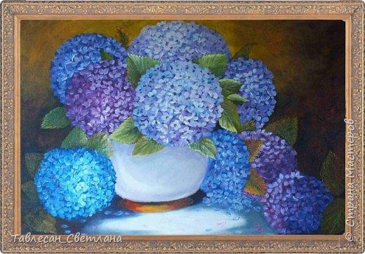 Живопись - мое новое увлечение)) Мои первые картины маслом. 1. Гортензия на балконе. Холст, масло. 60х60 фото 2