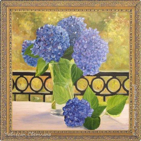 Живопись - мое новое увлечение)) Мои первые картины маслом. 1. Гортензия на балконе. Холст, масло. 60х60 фото 1