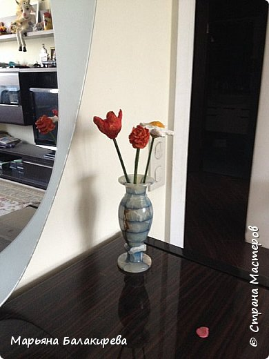 Еще из папье- маше  я слепила вот такой букет цветов. фото 1