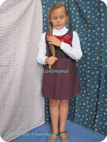 Сшила своей второклашке новый сарафан для школы. Дресс-код соблюли, а фасончик, как всегда - бохо. Деликатный, конечно, можно сказать, нежный бохо))) фото 8