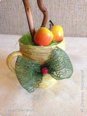 Вдохновившись яблочным спасом, садовыми, ароматными яблочками, я решила сделать фруктовый топиарий с двумя кронами.    фото 3