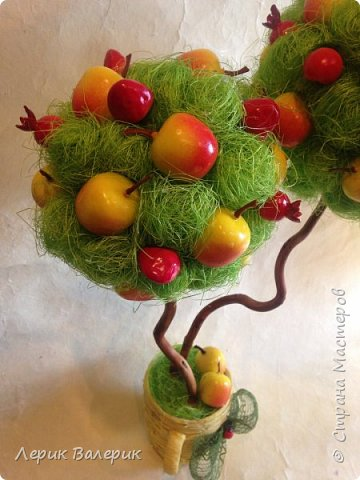 Вдохновившись яблочным спасом, садовыми, ароматными яблочками, я решила сделать фруктовый топиарий с двумя кронами.    фото 2