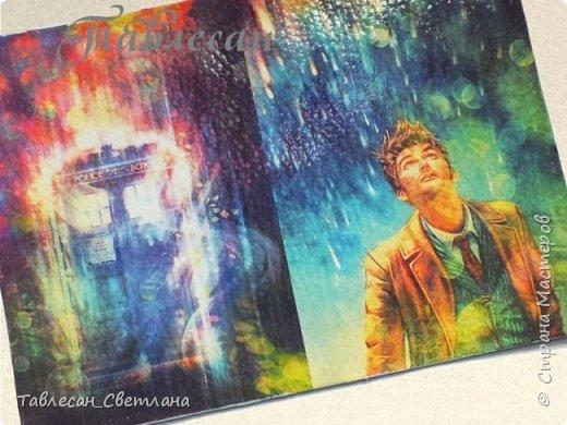 Обложки в технике декупаж. Почти все обложки с объемными элементами, прорисовкой контурами и пр. декором 1. Ван Гог. Ирисы фото 6