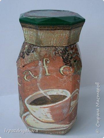 Баночка под кофе с Обратным декупажем. фото 3