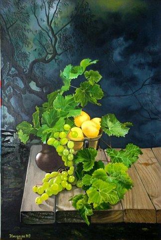 Натюрморт с виноградом. Масло. Холст 40х60.