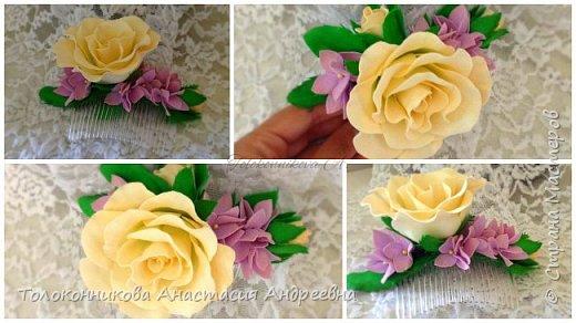 Цветочный гребень ручной работы роза и гортензия фото 2