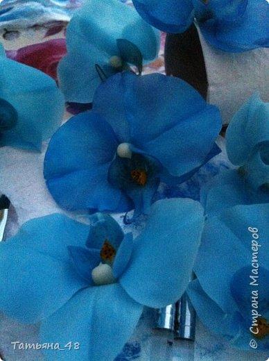 Здравствуй Страна Мастеров и Мастериц!!!!! Давненько я сюда не захаживала..... Вот опять у меня  орхидея созрела.... и опять голубая!  Спросом пользуется. Дарю .... Лепила на даче, т к живу там  с внуком вожусь... Вечернее время в моем распоряжении, поэтому извиняйте за качество фото.... фото 2