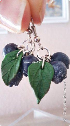 """Серьги """"Черника"""" Каждая ягодка сделана вручную из полимерной глины. Длина- 4 см, декор- 2,5 см фото 2"""