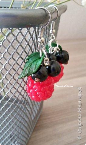 """Серьги """"Черника"""" Каждая ягодка сделана вручную из полимерной глины. Длина- 4 см, декор- 2,5 см фото 5"""