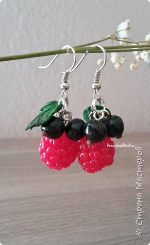 """Серьги """"Черника"""" Каждая ягодка сделана вручную из полимерной глины. Длина- 4 см, декор- 2,5 см фото 4"""
